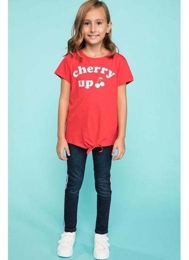 DeFacto Bağlama Detaylı Yazı Baskılı T-shirt Kırmızı